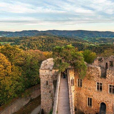 Blick von Schloss Auerbach in den Odenwald