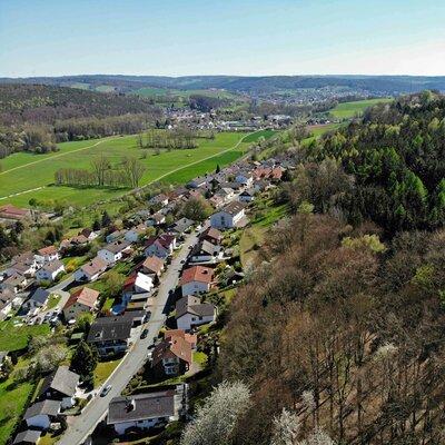 Blick ins Mümlingtal im Odenwald nach Bad König